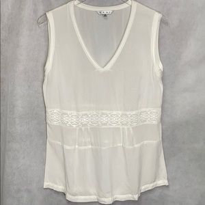 CAbi Cupra Sleeveless White Lightweight Blouse Top